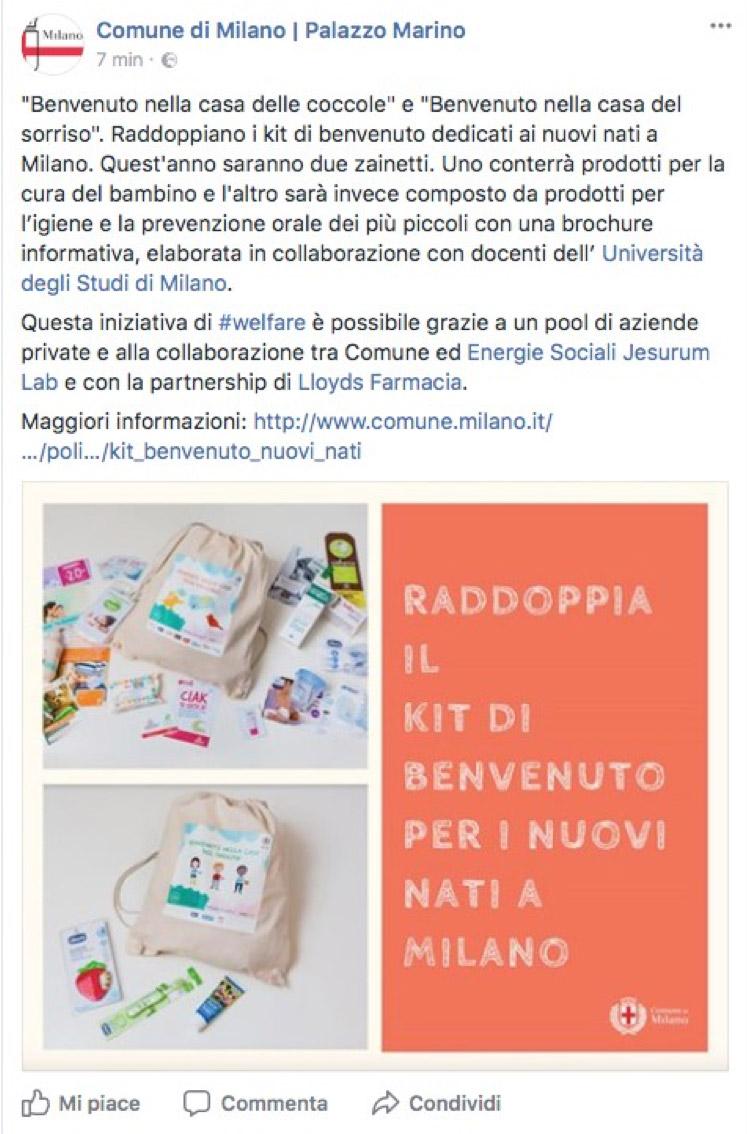 Facebook Comune di Milano Palazzo Marino